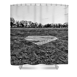 Baseball - Home Plate - Black And White Shower Curtain by Paul Ward