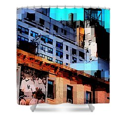 Baseball Is Coming - Watertower And Sports Poster Shower Curtain by Miriam Danar