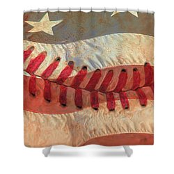 Baseball Is Sewn Into The Fabric Shower Curtain by Heidi Smith
