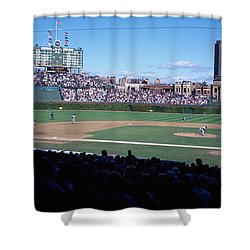 Baseball Match In Progress, Wrigley Shower Curtain by Panoramic Images