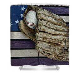 Baseball Mitt On American Flag Folk Art Shower Curtain by Paul Ward