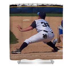 Baseball Pick Off Attempt Shower Curtain by Thomas Woolworth