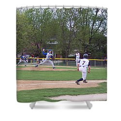 Baseball Pitcher The Delivery Shower Curtain by Thomas Woolworth