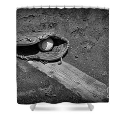 Baseball Pitchers Mound In Black And White Shower Curtain by Paul Ward