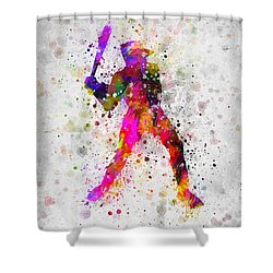 Baseball Player - Holding Baseball Bat Shower Curtain by Aged Pixel