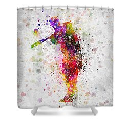 Baseball Player - Taking A Swing Shower Curtain by Aged Pixel