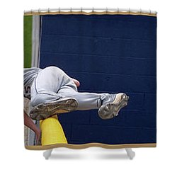 Baseball Playing Hard 3 Panel Composite 02 Shower Curtain by Thomas Woolworth