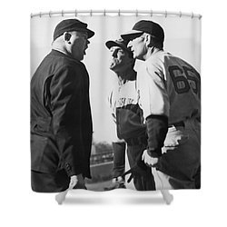 Baseball Umpire Dispute Shower Curtain by Underwood Archives