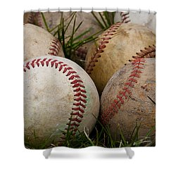 Baseballs On The Grass Shower Curtain by David Patterson
