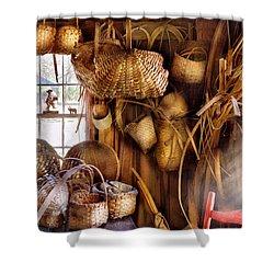 Basket Maker - I Like Weaving Shower Curtain by Mike Savad
