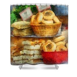 Basket Of Bialys Shower Curtain by Susan Savad