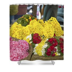 Shower Curtain featuring the photograph Basket Of Flowers by Mini Arora