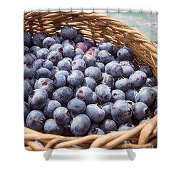 Basket Of Fresh Picked Blueberries Shower Curtain by Edward Fielding