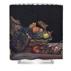 Basket Of Fruit Shower Curtain by Donna Tuten