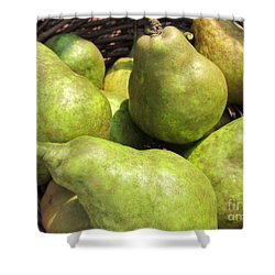 Basket Of Green Pears Shower Curtain by Susan Carella