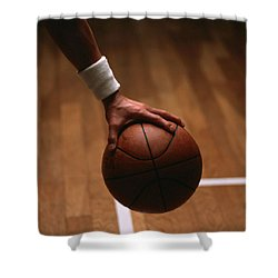 Basketball Ball In Male Hands Shower Curtain by Lanjee Chee