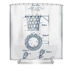 Basketball Goal Patent From 1951 - Blue Ink Shower Curtain by Aged Pixel