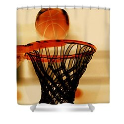 Basketball Hoop And Basketball Ball 1 Shower Curtain by Lanjee Chee
