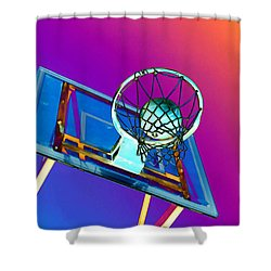 Basketball Hoop And Basketball Ball Shower Curtain by Lanjee Chee