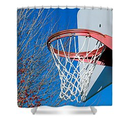 Basketball Net Shower Curtain by Valentino Visentini
