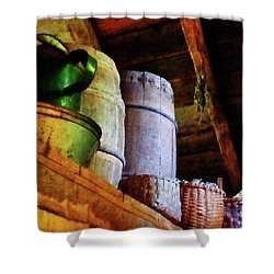 Baskets And Barrels In Attic Shower Curtain by Susan Savad