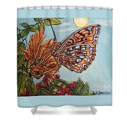 Shower Curtain featuring the painting Basking In The Warmth Of The Sun In A Tropical Paradise Painting by Kimberlee Baxter