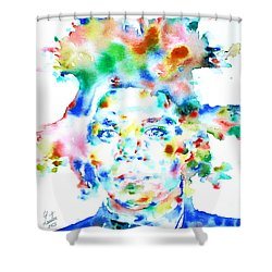 Basquiat Jean Michel Watercolor Portrait Shower Curtain