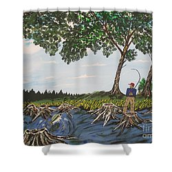 Bass Fishing In The Stumps Shower Curtain by Jeffrey Koss