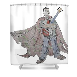 Bass Guitarist Cartoon Shower Curtain