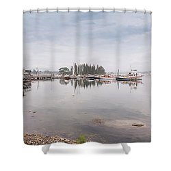 Bass Harbor In The Morning Fog Shower Curtain