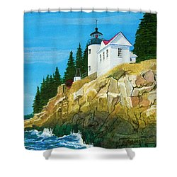 Bass Harbor Lighthouse Shower Curtain by Mike Robles