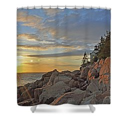 Shower Curtain featuring the photograph Bass Harbor Lighthouse Sunset Landscape by Glenn Gordon
