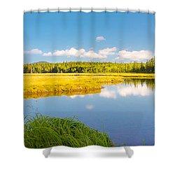 Bass Harbor Marsh Panorama Acadia National Park Photograph Shower Curtain