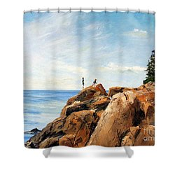 Bass Harbor Rocks Shower Curtain by Lee Piper