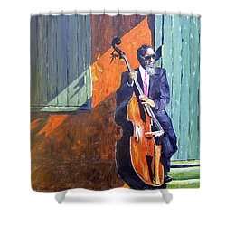 Bass Player In New Orleans Shower Curtain by Barbara Jacquin
