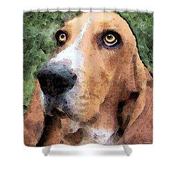 Basset Hound - Irresistible  Shower Curtain by Sharon Cummings