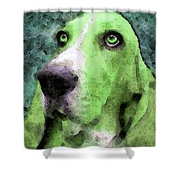 Basset Hound - Pop Art Green Shower Curtain by Sharon Cummings