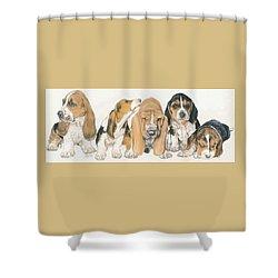 Basset Hound Puppies Shower Curtain by Barbara Keith