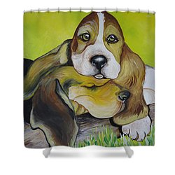 Shower Curtain featuring the painting Bassett Hound Pups by Leslie Manley