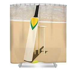 Bat Ball And Stumps Shower Curtain by Jorgo Photography - Wall Art Gallery