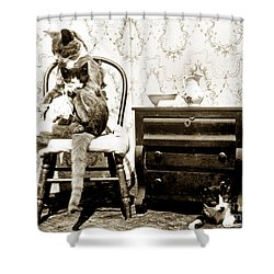 Shower Curtain featuring the photograph Bath Time For Kitty Circa 1900 Historical Photos by California Views Mr Pat Hathaway Archives