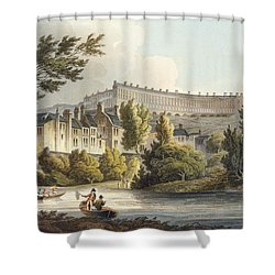 Bath Wick Ferry, From Bath Illustrated Shower Curtain by John Claude Nattes