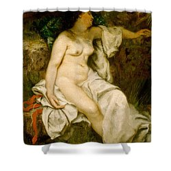 Bather Sleeping By A Brook Shower Curtain by Gustave Courbet