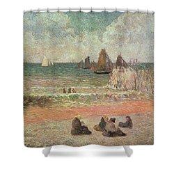 Bathing Dieppe Shower Curtain by Paul Gauguin