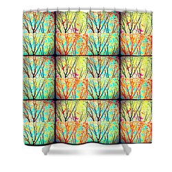 Batik Trees Collage Abstract Shower Curtain