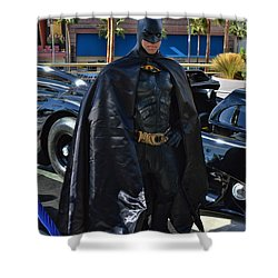 Batmobile And Batman Shower Curtain by Tommy Anderson