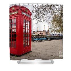 Battersea Phone Box Shower Curtain by Matt Malloy