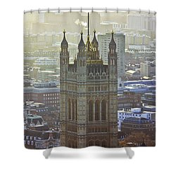 Battersea Power Station And Victoria Tower London Shower Curtain by Terri Waters