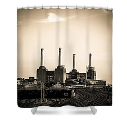 Battersea Power Station With Train Tracks Shower Curtain