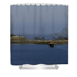 Battery Point Lighthouse And Castle Rock Shower Curtain by Betty Depee